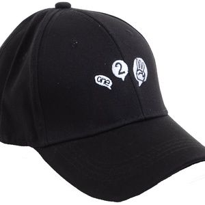 Accessories - Black Adjustable Baseball Cap with Funky Design